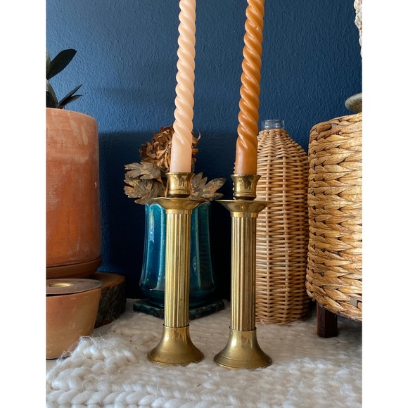 Vintage Pair Brass Candle Stick Holders
